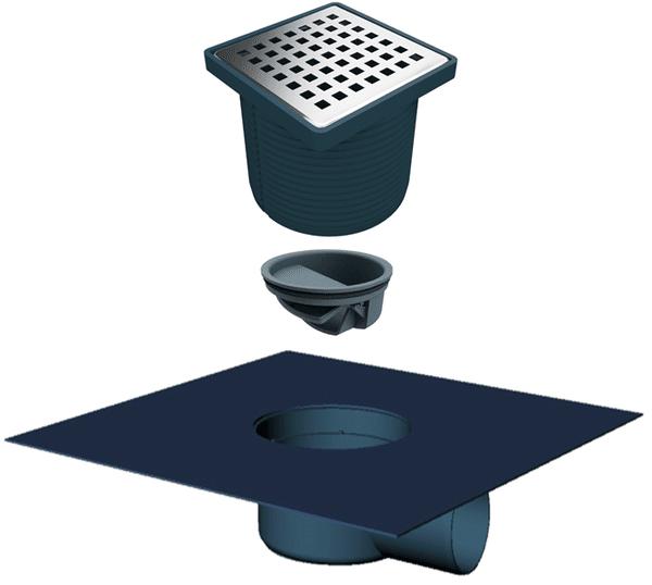 Регулируем сифон с текстилна мембрана (ПВЦ рамка) със страничен изход Ф50